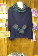 Simply Natural Alpaca Sweater Poncho, Blue Lg sleeve Turtle Neck