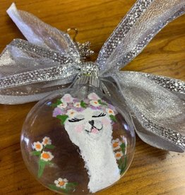 Circus City Alpaca Christmas Ornament, White Alpaca/Flowers