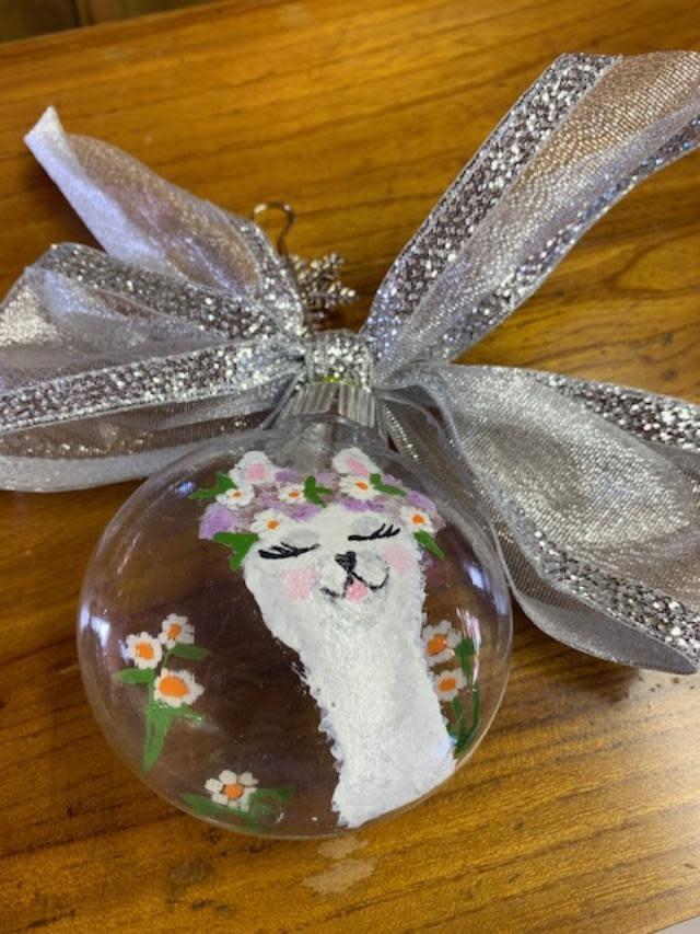 Circus City Alpaca Christmas Ornament, White Alpaca/Flowers