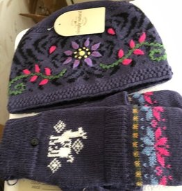 Simply Natural Alpaca Hat/Glitten Set, Purple with Flowers