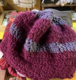 Circus City Alpaca Hat, Slouchy, Ponytail, Purple/Gray, Crocheted