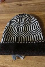 Classic Alpacas Alpaca Hat, Brn/Wh Geometric