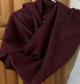 Andean Art Alpaca Shawl, Maroon, Brushed w/crocheted edge