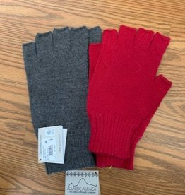Classic Alpacas Alpaca Fingerless Gloves, heavy  Red or Charcoal Lg