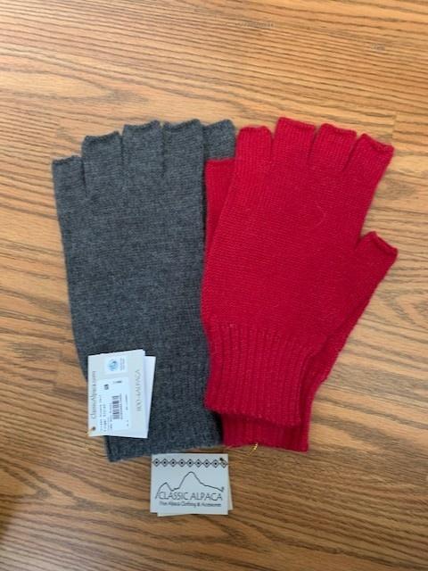 Classic Alpacas Alpaca Fingerless Gloves, heavy   Charcoal Lg