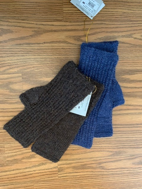 Classic Alpacas Alpaca Fingerless Gloves, Med.  Blue or Brown