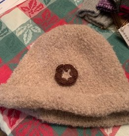 Classic Alpacas Alpaca Hat, Beige Boucle with flower