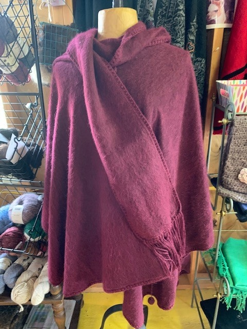 Simply Natural Alpaca Cape, Lined Burgundy
