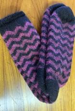 Lanart Alpaca Socks, Purple/Black Small Heavy