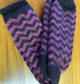 Lanart Alpaca Socks, Purple/Black Small Heavy