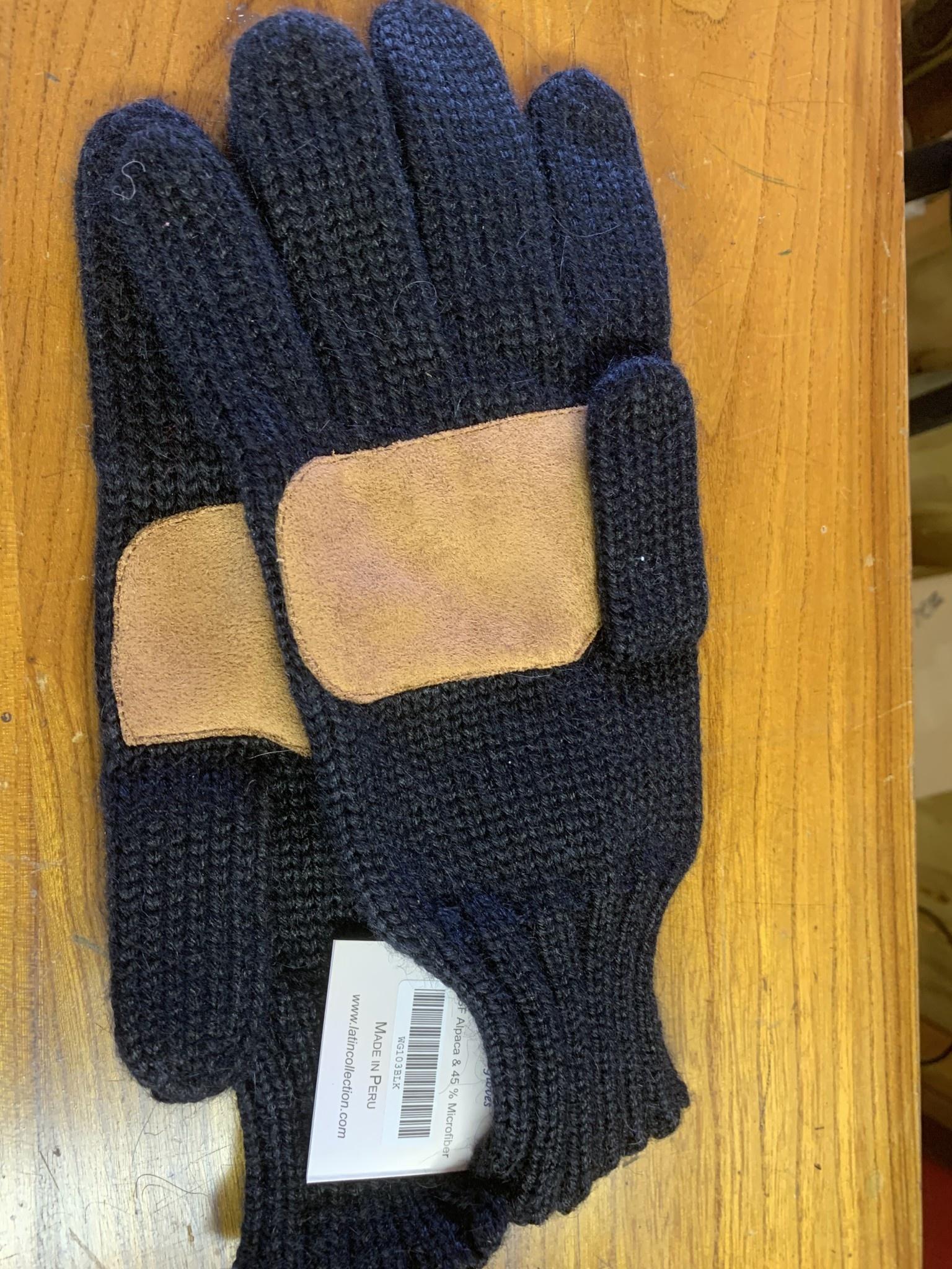 Alpaca Exchange Alpaca Gloves, Leather palm, CAmel or Black M/LG