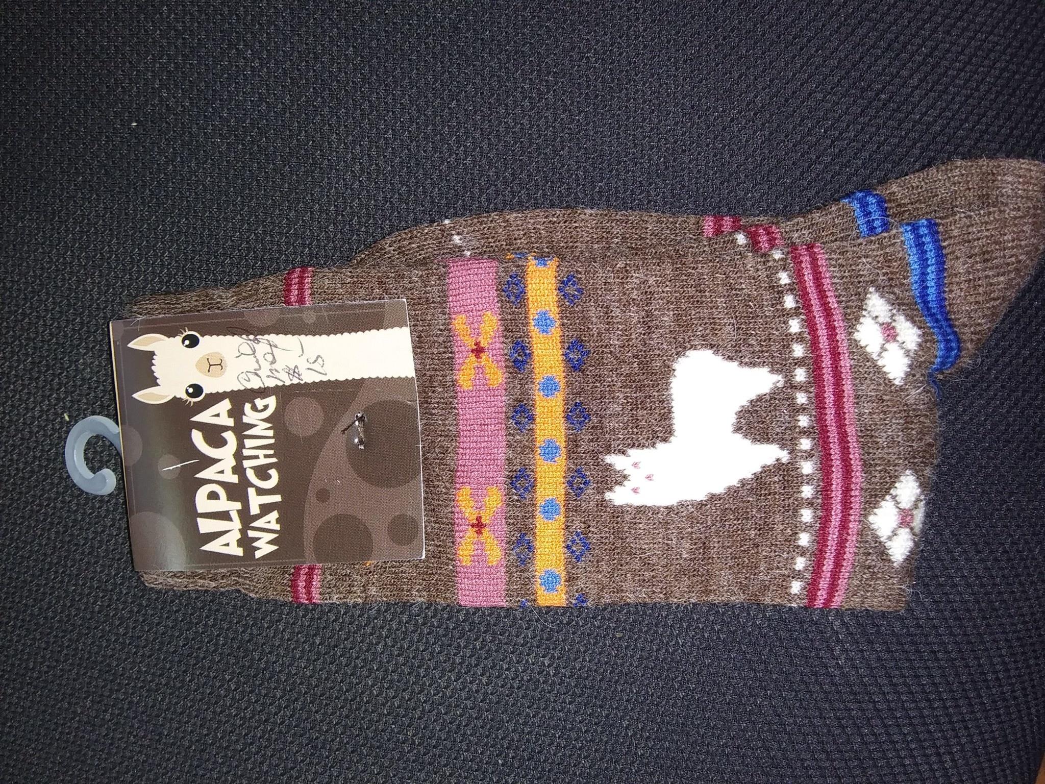 Choice Alpacas Alpaca Watching Socks, Adult Brown Lg