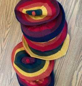 Andean Art Alpaca Striped Beret, Multi Earth Tones