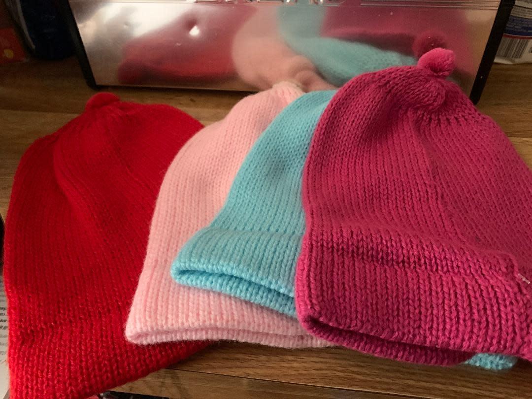 Andean Art Alpaca Beanie Hat, Lt Pink,Red,Torquoise Gray