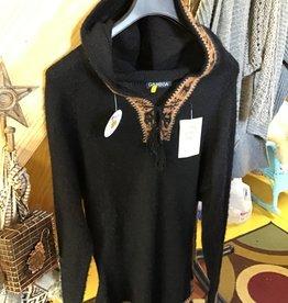 Alpaca Mall Alpaca Sweater w Hoodie, Black w Brn trim
