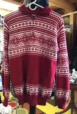 Alpaca Mall Alpaca Sweater, Red/ Wh pattern Pullover Short Zip
