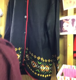 Alpaca Mall Alpaca Sweater, Black w Trim on slv&Bottom