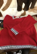 Alpaca Mall Alpaca Sweater, Red Pullover w Blk/Wh Tr