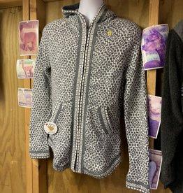 Alpaca Mall Alpaca Sweater, Andean Cross XL Gray/White