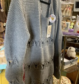 Alpaca Mall Alpaca Sweater, Bluish Gray, Open Design XL