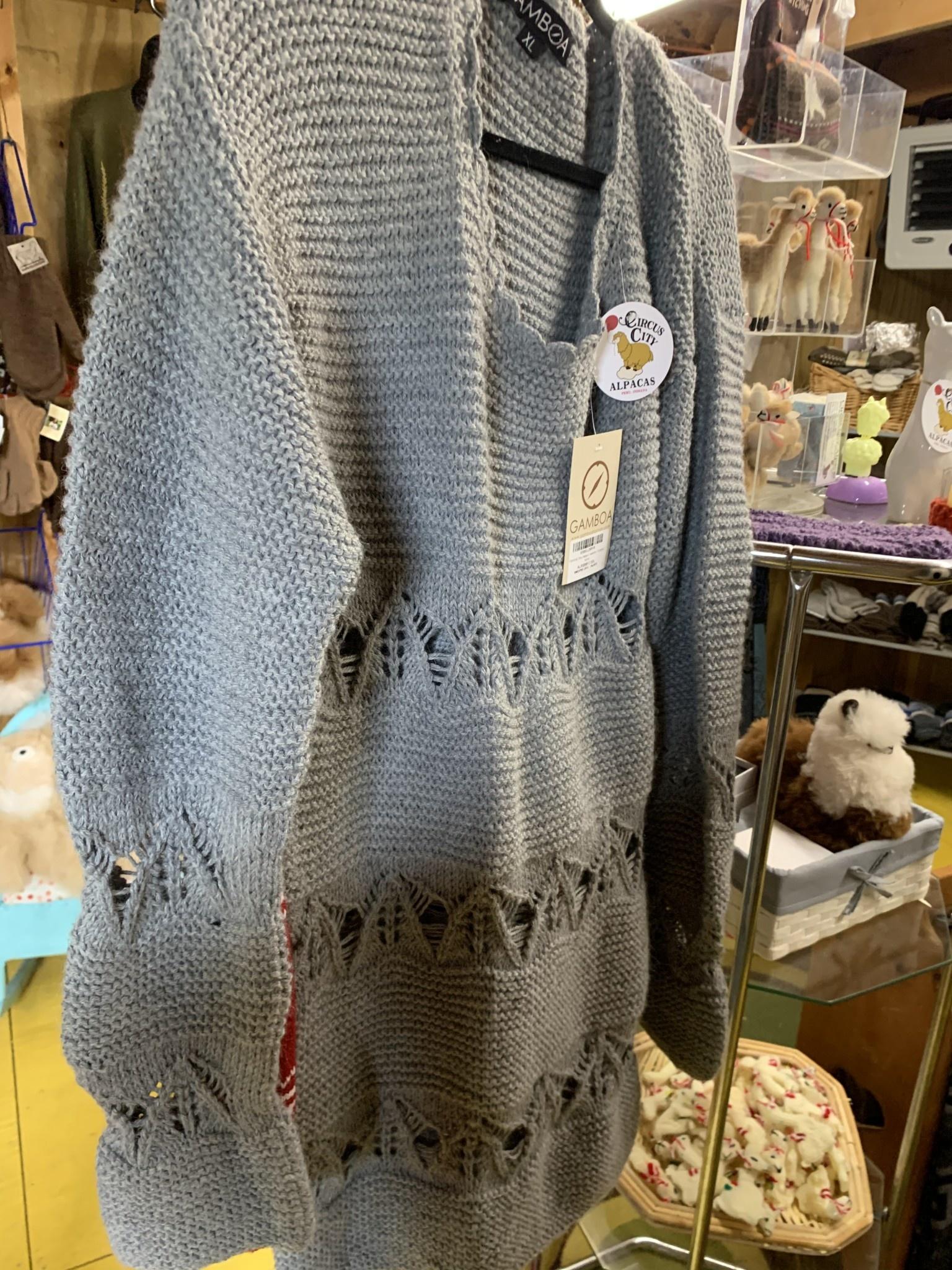 Alpaca Mall Alpaca Sweater, Bluish Gray, Open Design XL
