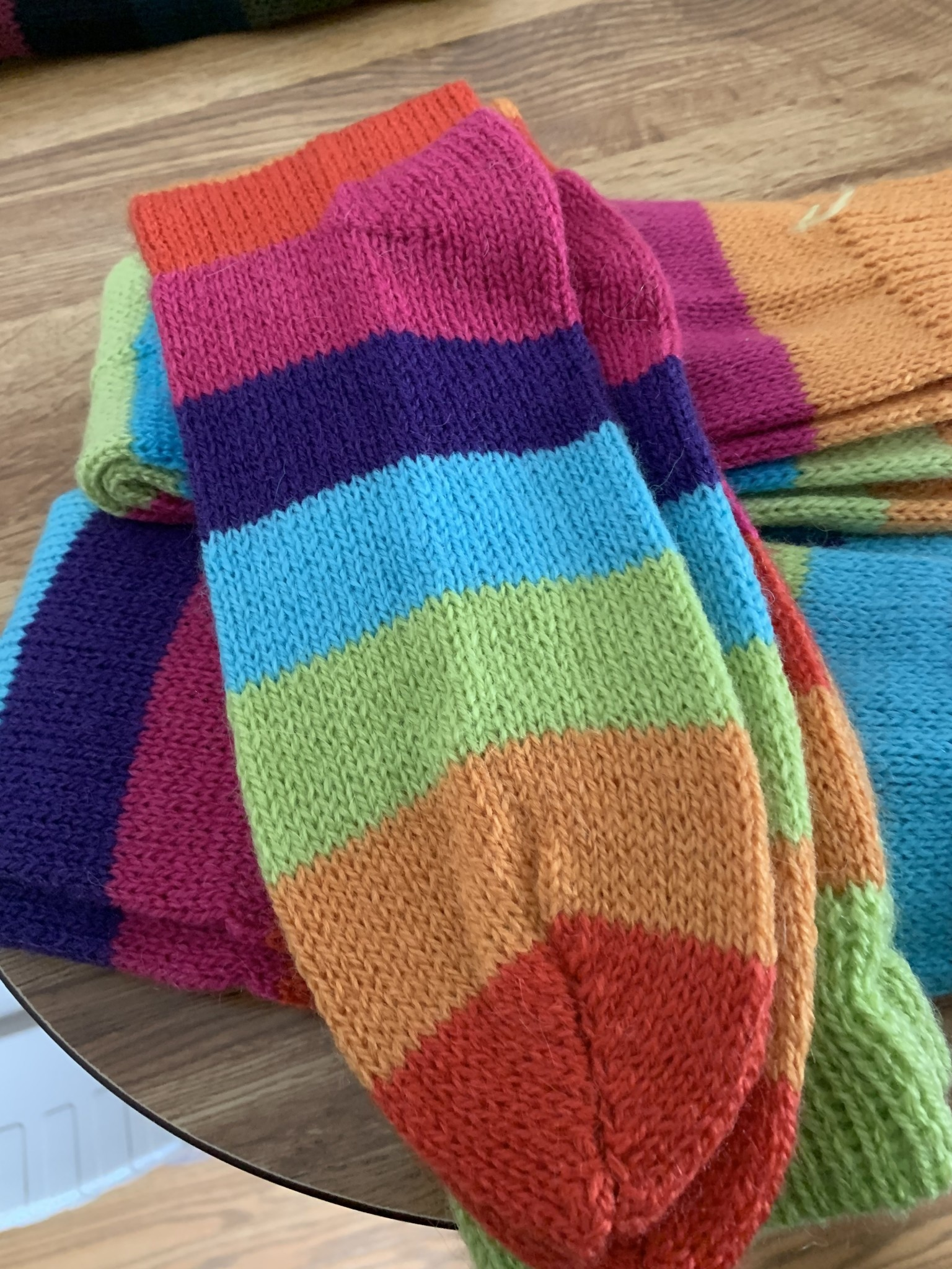 Andean Art Alpaca Socks, Striped, Knee Hi ,Bold Colors Md/LG