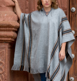 Alpaca Mall Alpaca Poncho, Gray Hooded
