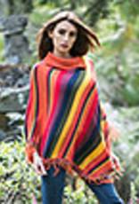 Alpaca Mall Alpaca Poncho, Womens, Multicolor Striped