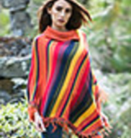 Alpaca Mall Alpaca Poncho, Womens, Multicolor Striped