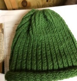 Alpaca Hat, Green, Knitted
