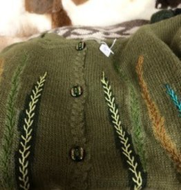 Alpaca Sweater, Olive Green Small