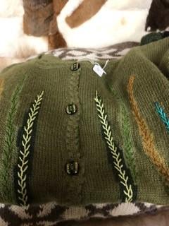 Alpaca Sweater, Olive Green Small