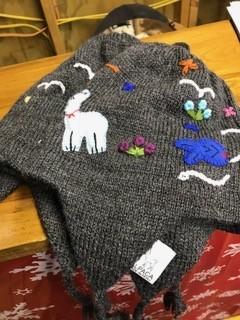 Alpaca Hat, Child's Chullo, Gray, Tan, Br, Black