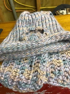 Alpaca Hat, Pastel Varigated with Short Scarf