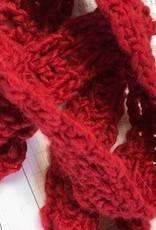 Alpaca Scarf, Crocheted Red, Narrow