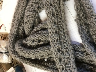 Alpaca Scarf, Knitted, Silver Gray, Long, Narrow