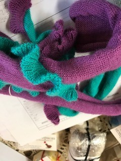 Alpaca Scarf, Purple/Torq Snake Long