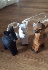 Alpaca Ornaments, Wooden, Brown