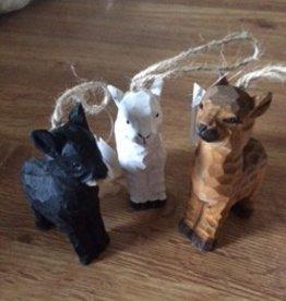 Alpaca Ornaments, Wooden, White