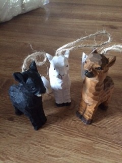 Alpaca Ornaments, Wooden, White