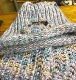 Alpaca Hat and Scarf, Short variegated Pastels