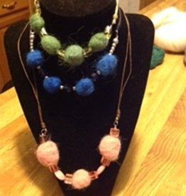 Alpaca Necklaces, Pink, Green, Blue