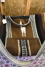 Alpaca Shoulder Bag, Lined 18 x 12 in Brown w zipper