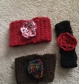 Alpaca Headbands, Crocheted w flower