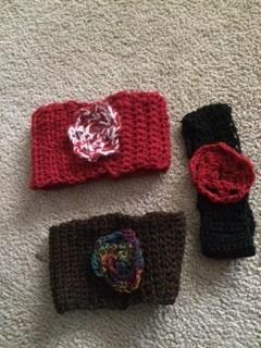 Alpaca Headbands, Crocheted w flower