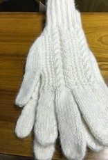 Andean Art Alpaca Gloves, White, Cabled L