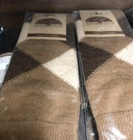Andean Art Alpaca Socks, Argyle Shorties, Brown, M w Grippers