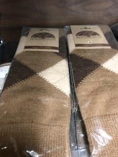 Andean Art Alpaca Socks, Argyle Shorties, Brown, M w Grippers