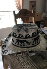 Alpaca Hat, Cowboy, Crocheted, White
