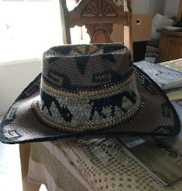 Alpaca Hat, Cowboy, Crocheted, Brown